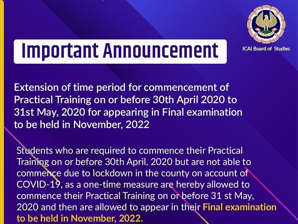 ICAI extends time period for commencement of Practical Training