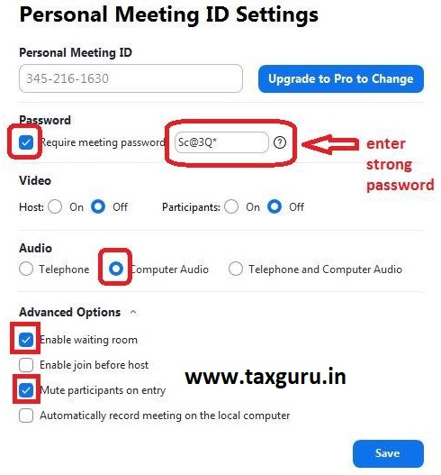 Personal Meeting ID Setting