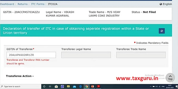 Declaration of transfer of ITC in case of obtaining seprate registration