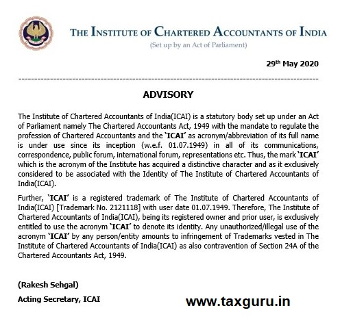 ICAI Advisory
