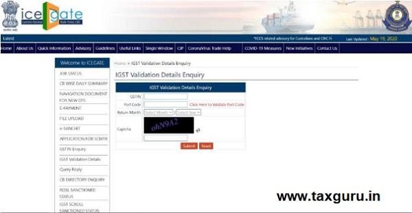 IGST Validation Details Enquiry