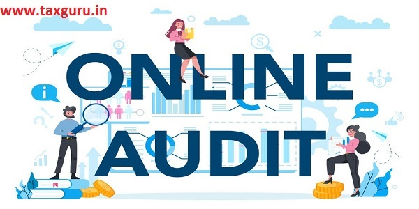 Online audit typographic header concept. Business operation research and analysis. Financial inspection and analytics. Isolated flat vector illustration