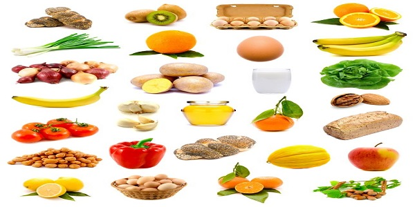 group of healthy food with fruits, vegetables, milk, bread and eggs