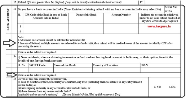 Bank Account for Refund [ITR1-ITR7]