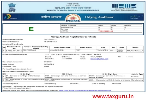 MSME Certificate Image 2