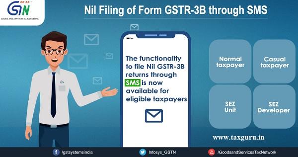 Nil Filling of Form GSTR-3B through SMS