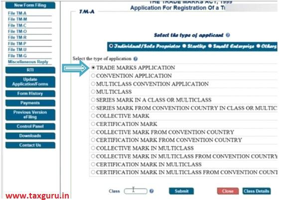 Online Filing of Trade Mark Version 3.0 images 7