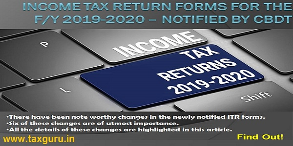 income tax return forms for the FY 2019-2020