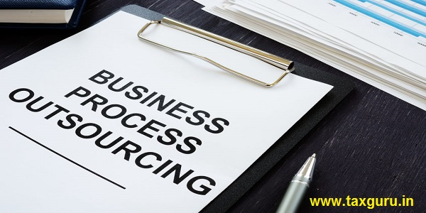 Business photo shows printed text business process outsourcing