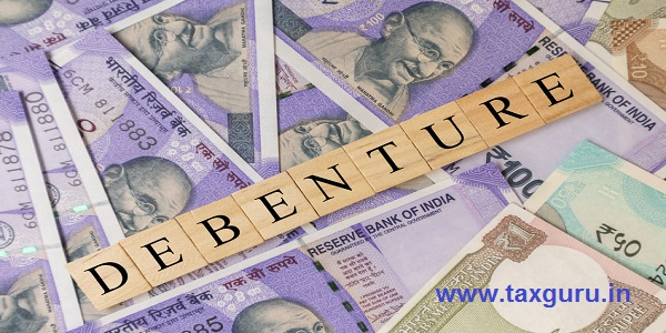 Debenture Business and Financial as concept on Indian currency notes