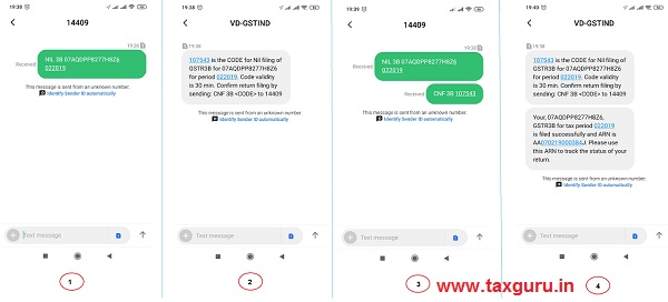Filing Nil Form GSTR-1 through SMS