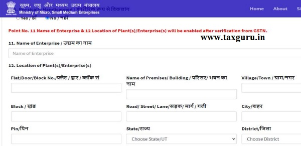 For new registration the GSTN