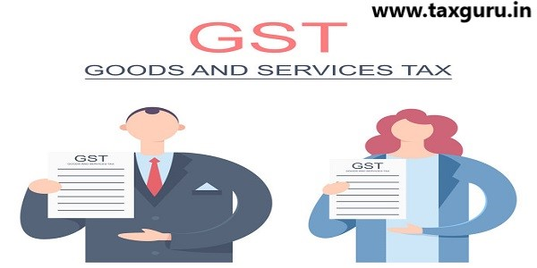GST with man and woman are holding document in hands
