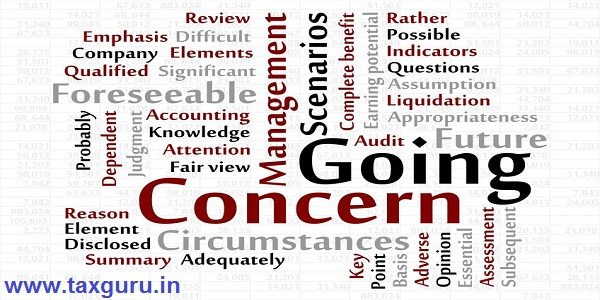 Going Concern word cloud with data sheet background