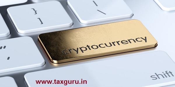 Golden cryptocurrency service sign button on white computer keyboard