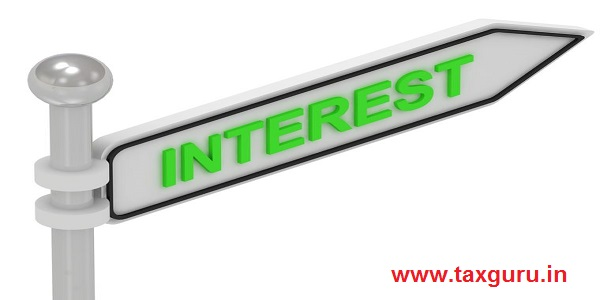 INTEREST arrow sign with letters on isolated white background