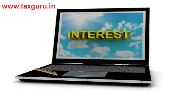 INTEREST sign on laptop screen of the yellow letters on a background of sky, sun and clouds