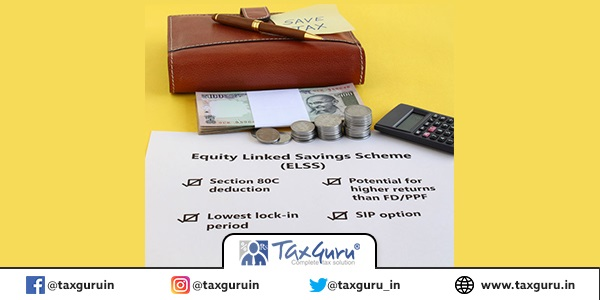 Investment of Indian rupees in equity linked savings scheme (elss) mutual fund, for saving tax, concept, highlighted by notes and handwritten note
