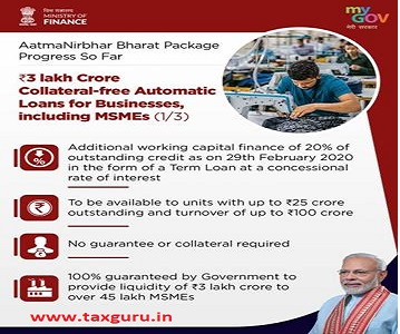 Rs. 3 lakh crore Collateral free Automatic Loans for Businesses including MSMEs