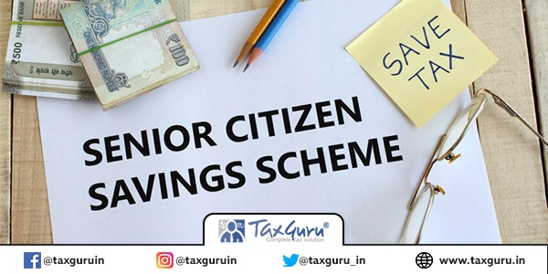 Senior citizen savings scheme SCSS concept highlighted through text on paper, Indian rupees and coins, a save-tax note, pencils and spectacles on a wooden background