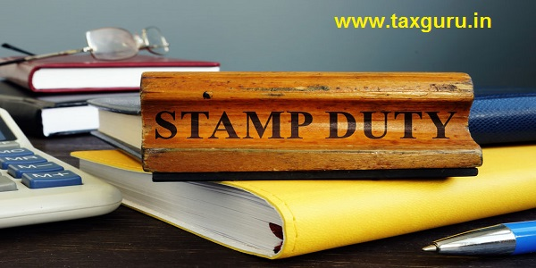 Stamp duty sign and office supply with business papers