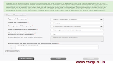 Write Your propose Company Name and Auto Check and Save in last submitted
