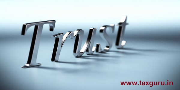 metal trust word 3d render with perspective and blur effet, blue background with shadow
