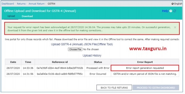 A confirmation-message is displayed and Columns Status and Error Report change as shown