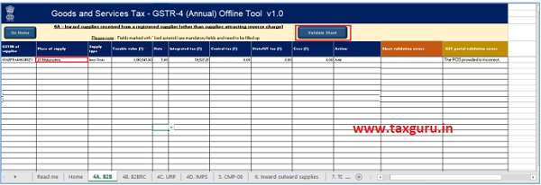 After making corrections in a sheet, click the Validate Sheet