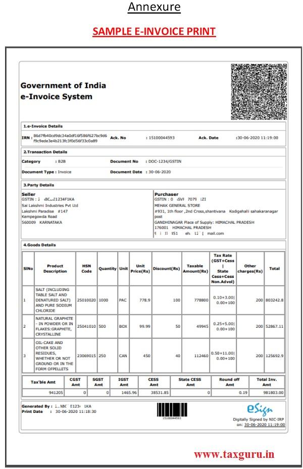 Annexure SAMPLE E-INVOICE PRINT