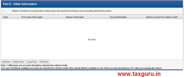 Bank account for refund