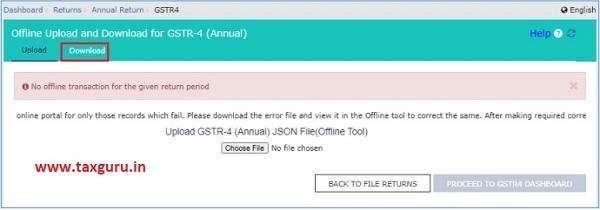 Download Offline Upload and Download for Form GSTR-4 (Annual)