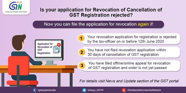 Functionality to file Revocation Application of GST Registration