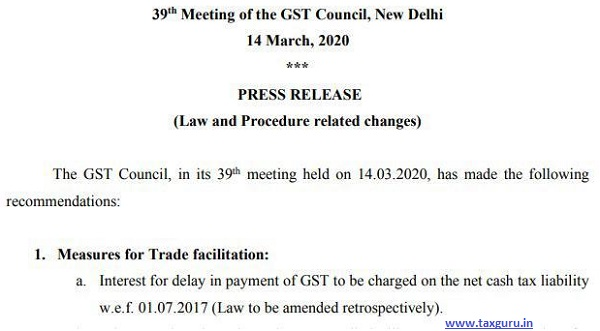 Interest for delay in payment of GST- Press Release 14th March 2020