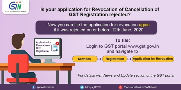 Is you application for revocation of cancellation of GST registration rejected