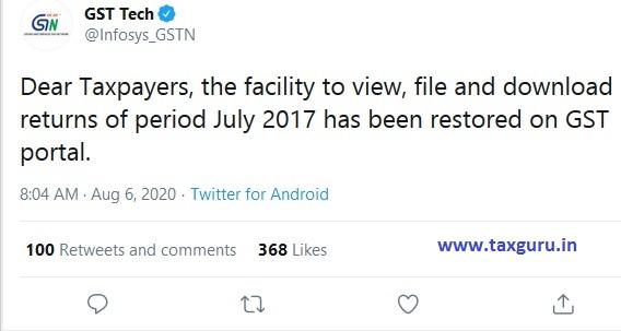 July 2017 data restored on GST portal