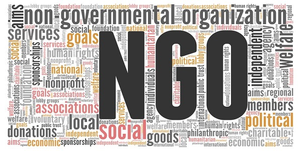 NGO Non-governmental organization word cloud isolated on white background