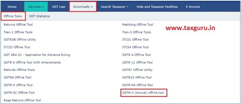 Offline Tools GSTR-4 (Annual) offline tool option