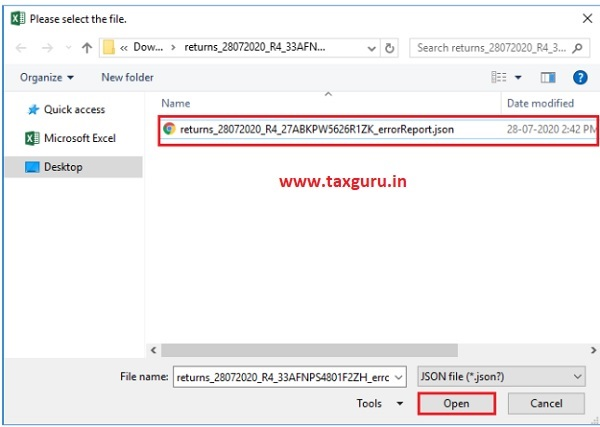 Open Downloaded Error Form GSTR-4 (Annual Return) JSON File(s) 2