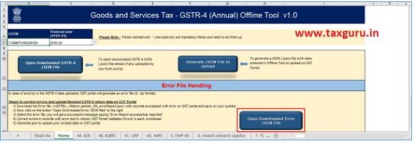 Open Downloaded Error Form GSTR-4 (Annual Return) JSON File(s)