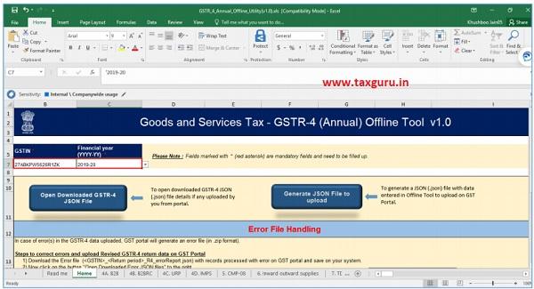 Open Downloaded Form GSTR-4 (Annual Return) JSON File(s) 1