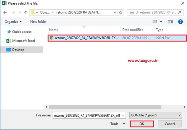 Open Downloaded Form GSTR-4 (Annual Return) JSON File(s) 3