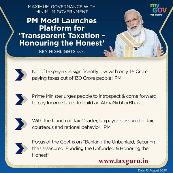 PM Modi Launches Platform forTransparent Taxation ‑ Honouring the Honest Key Highlights (2)