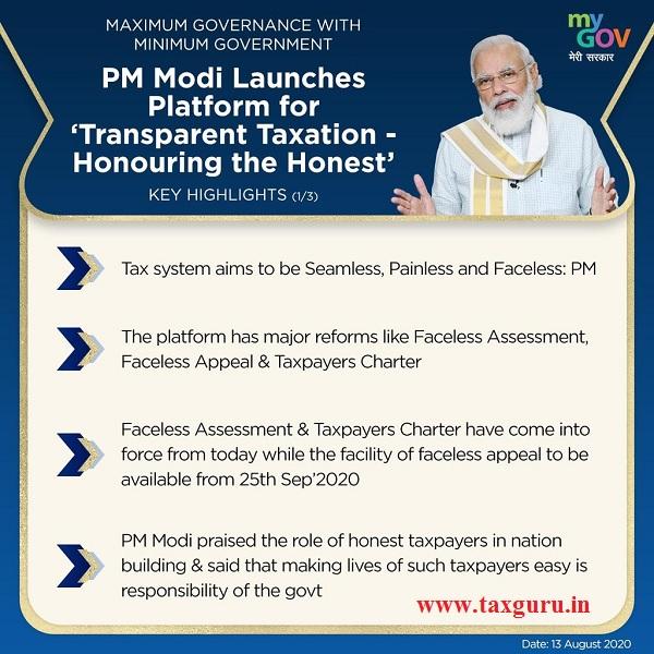 PM Modi Launches Platform for Transparent Taxation ‑ Honouring the Honest