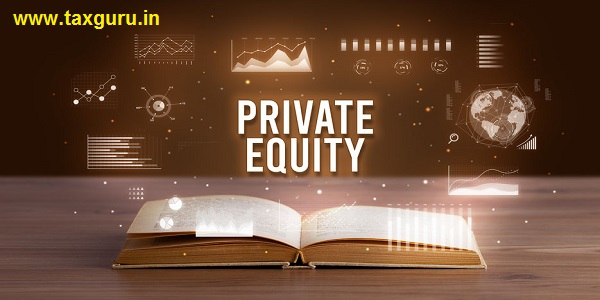 PRIVATE EQUITY inscription coming out from an open book, creative business concept