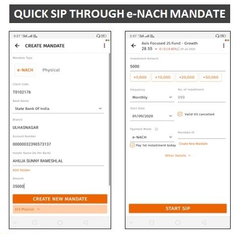 Quick SIP through e-NACH Mandate