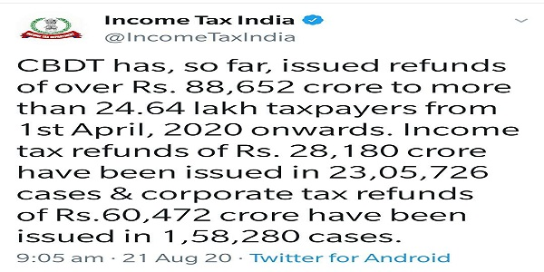 Income Tax Refund from 1st April