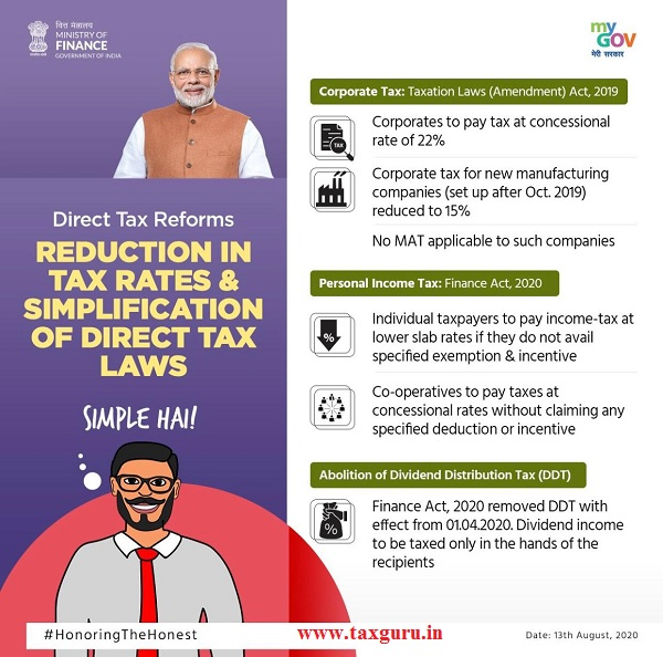 Reduction in tax rates & simplification of direct tax laws