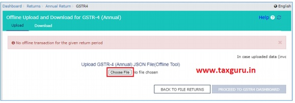 The Upload section of the Offline Upload and Download for Form GSTR-4 (Annual)
