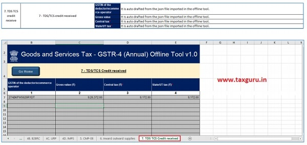 The data in this table will be available if JSON file is downloaded from the portal and TDS-TCS credit is available